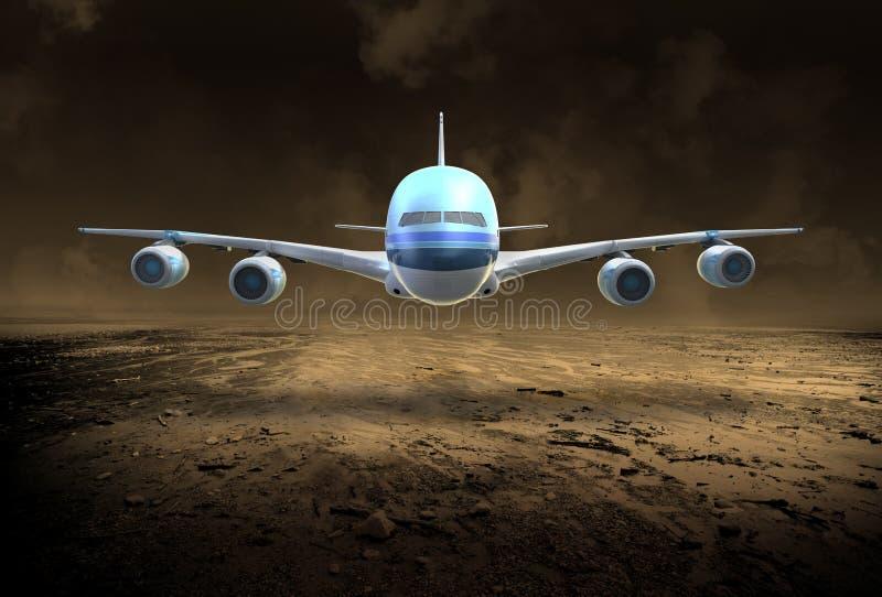 Jet surréaliste de ligne aérienne de passager, désert image libre de droits