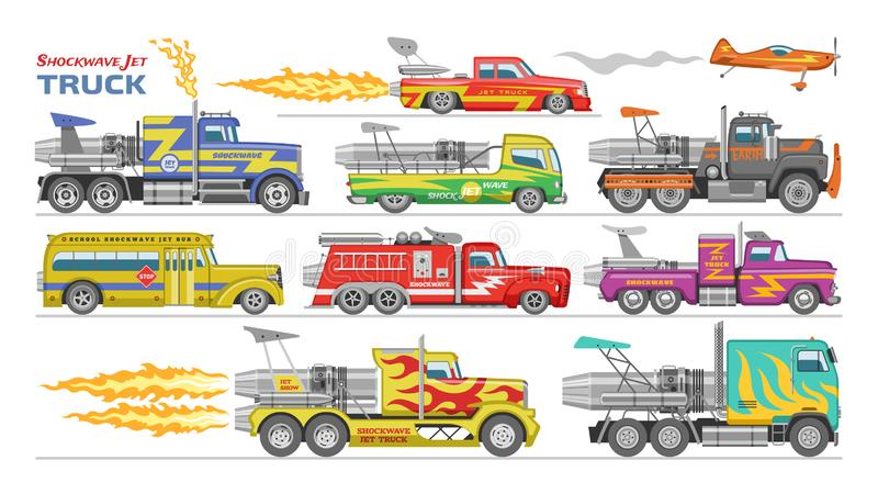 Jet truck vector afterburning race car and flamy drag racing on speedcar on sport event racetrack illustration set of royalty free illustration