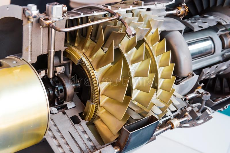 Jet turbine inside structure, section, mechanism operation device stock image
