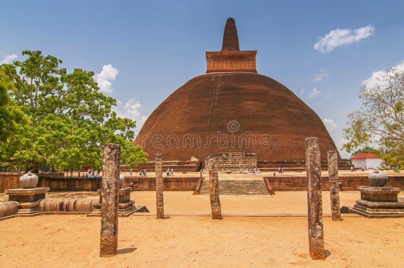 Jetavanaramaya dagoba in the ruins of Jetavana in the sacred world heritage city of Anuradhapura, Sri Lanka royalty free stock photography