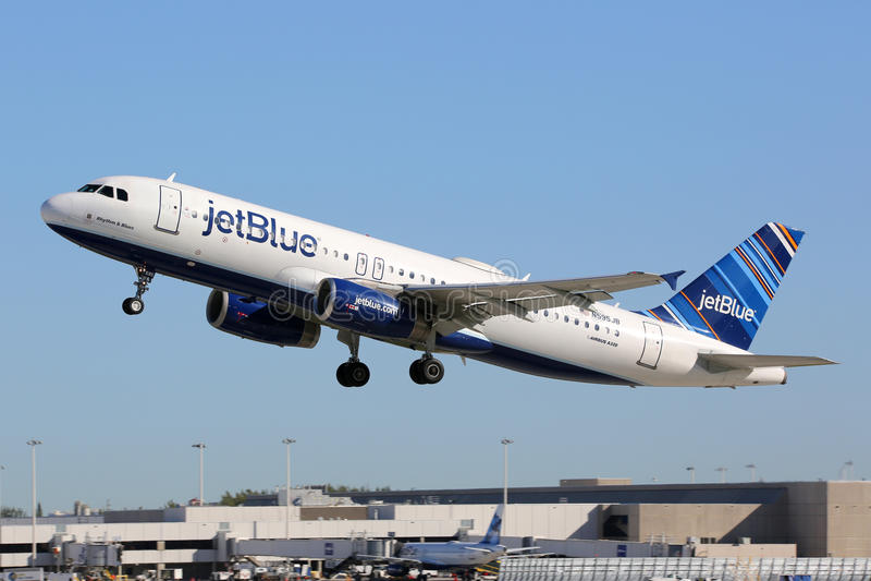 Jetblue空中客车A320飞机劳德代尔堡机场 库存图片