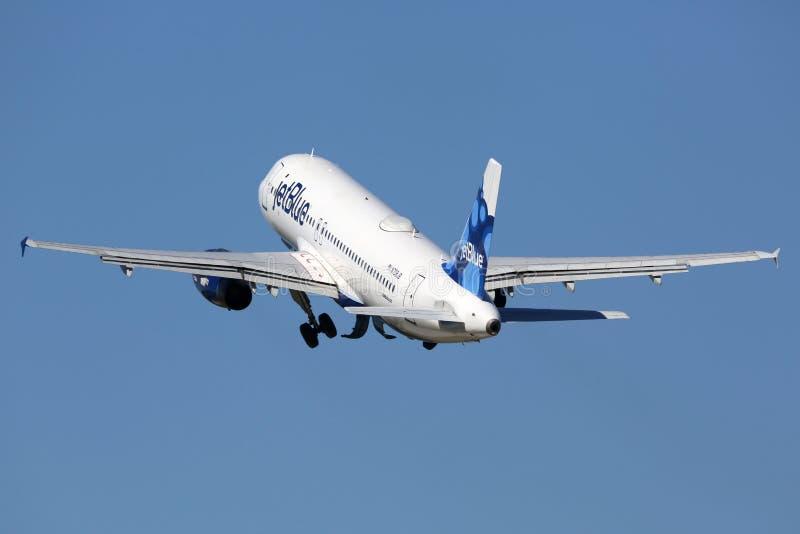 Jetblue空中客车A320飞机劳德代尔堡机场 免版税库存照片