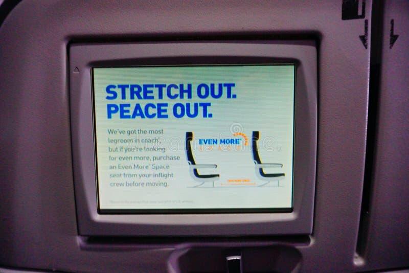 Jetblue飞机座位屏幕 免版税库存照片