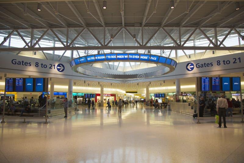 JetBlue终端5在约翰・肯尼迪国际机场在纽约 库存照片