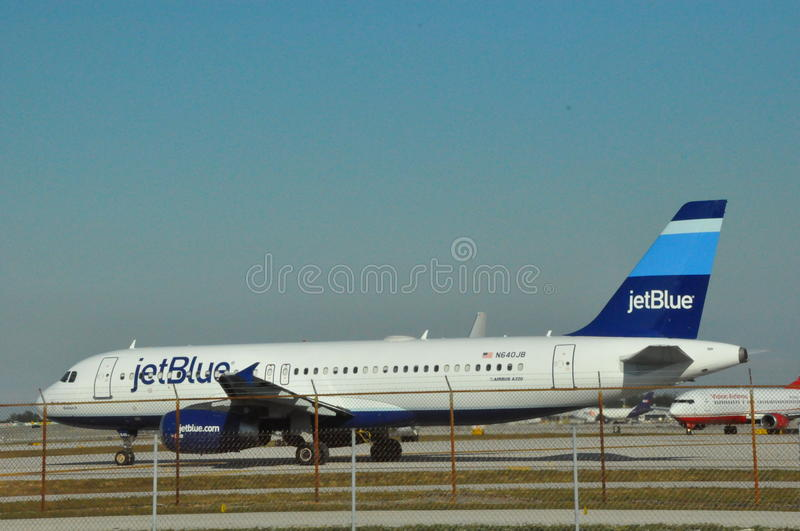 JetBlue Airbus at Fort Lauderdale FLL Airport stock photography