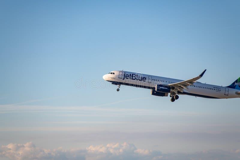 JetBlue flygbolag Jet Takes Off på den SLAPPA Los Angeles internationella flygplatsen royaltyfri bild