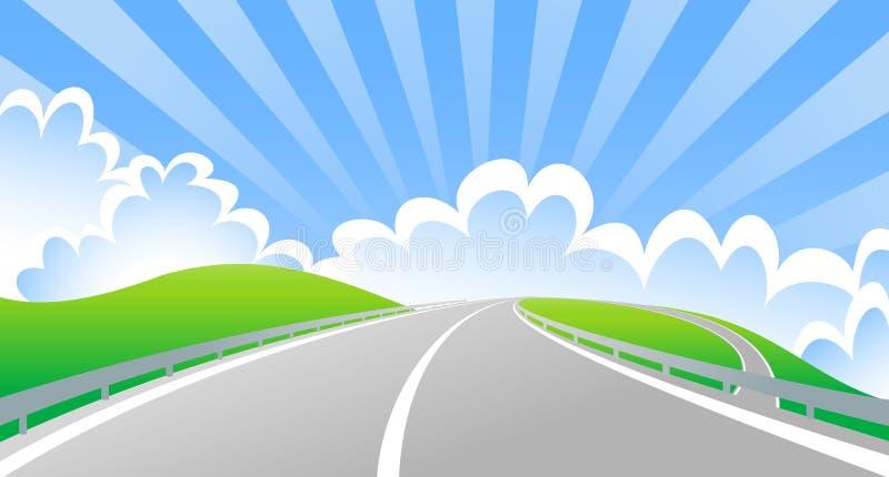 Jetez un pont sur l'intersection avec le soleil derrière des nuages illustration stock