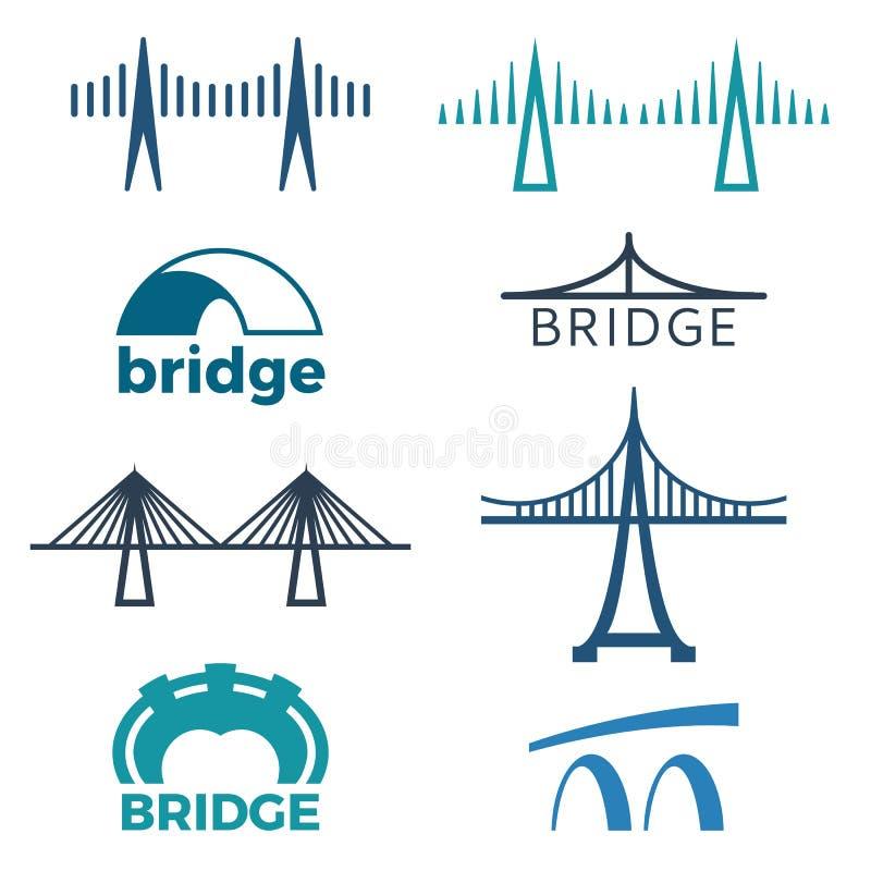 Jetez un pont sur la collection de logos d'illustrations d'isolement sur le blanc illustration libre de droits