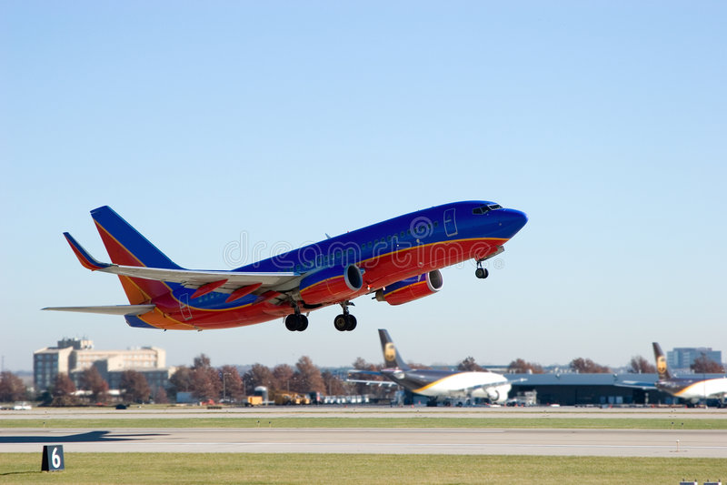Jetliner on takeoff 1 royalty free stock image