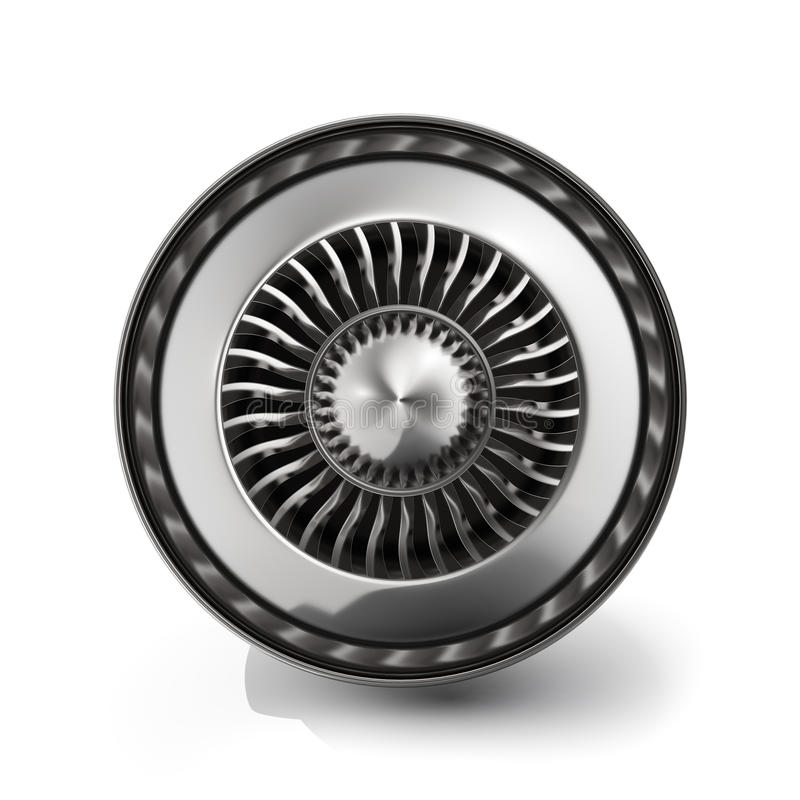 Jetmotorbaksidasikt som isoleras på vit bakgrund framförande 3d royaltyfri illustrationer