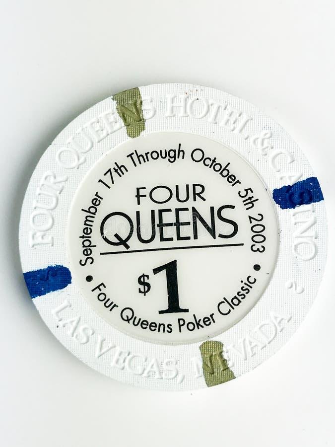 Jeton de poker d'hôtel et de casino $1 de la Reine du vintage quatre photographie stock libre de droits