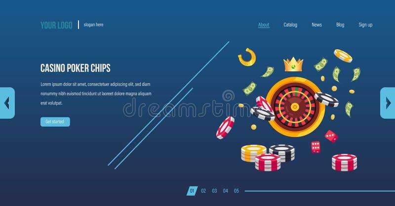 Jetons de poker de casino Jeu de casino de tisonnier, matrice, roulette, jouant illustration stock