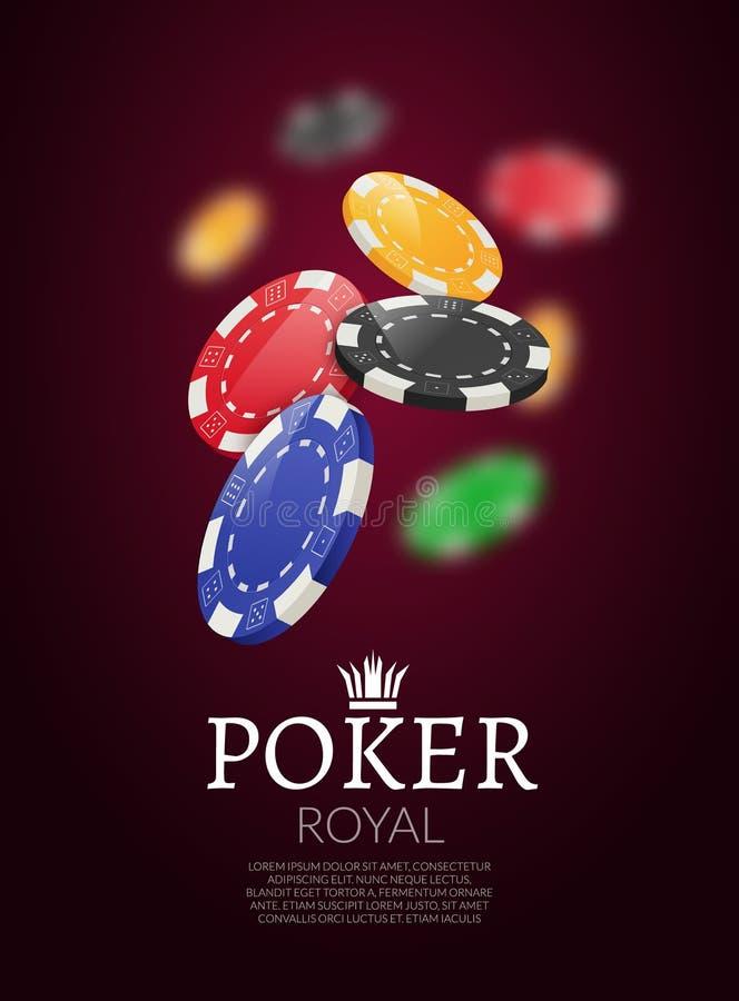 Jetons de poker et bacgkground de cartes Affiche de calibre de casino de tisonnier Disposition de conception d'insecte illustration stock