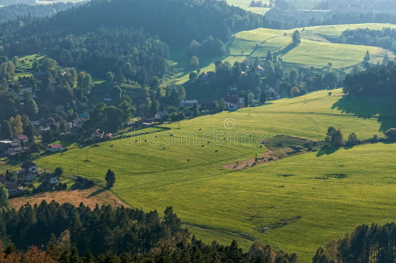 Jetrichovice meadows stock photography