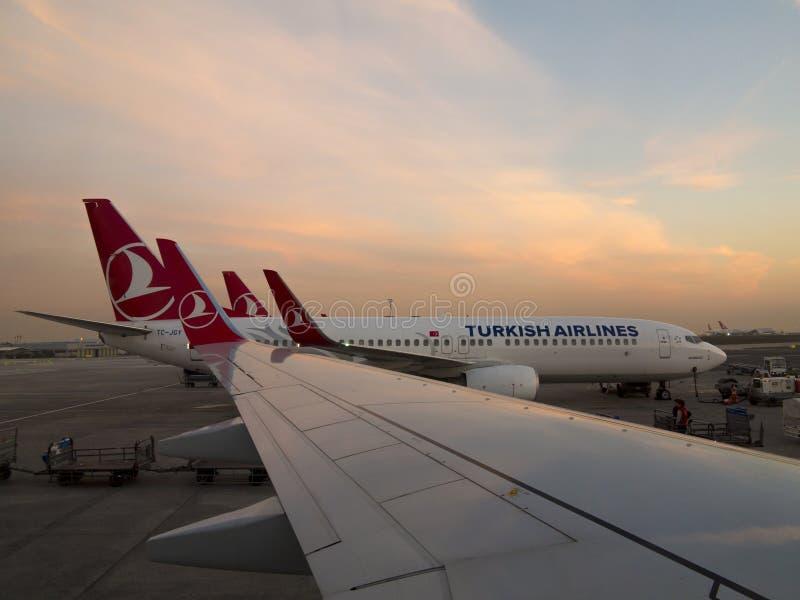Jets de Turkish Airlines imágenes de archivo libres de regalías