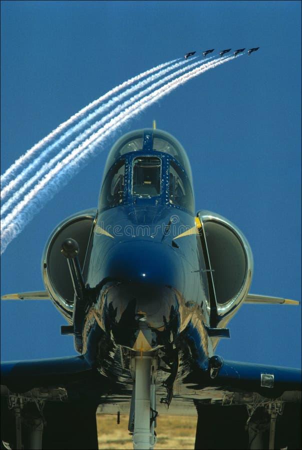 Jets en la demostración de aire fotos de archivo