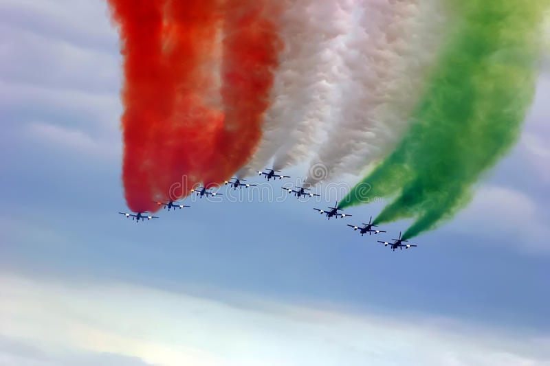 Jets formation with color smoke stock image