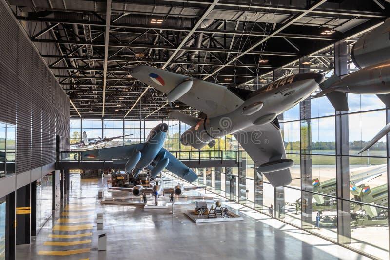 Jets históricos en el museo militar nacional foto de archivo