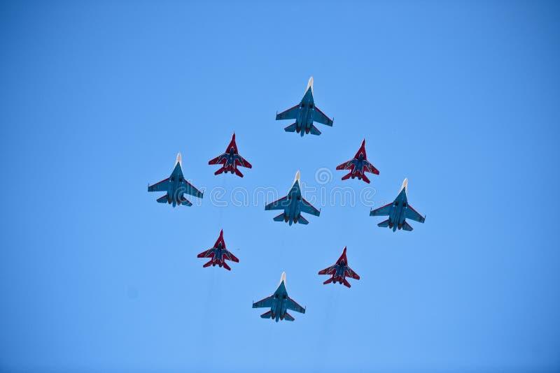Jets militares, Moscú, Rusia fotografía de archivo libre de regalías