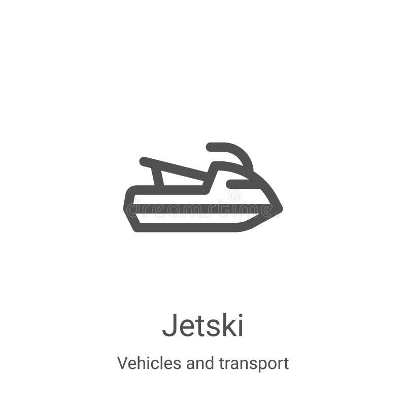 jetski-ikoon vector van voertuigen en transportverzameling Thin line jetski overzicht pictogram vectorillustratie Lineair symbool stock illustratie