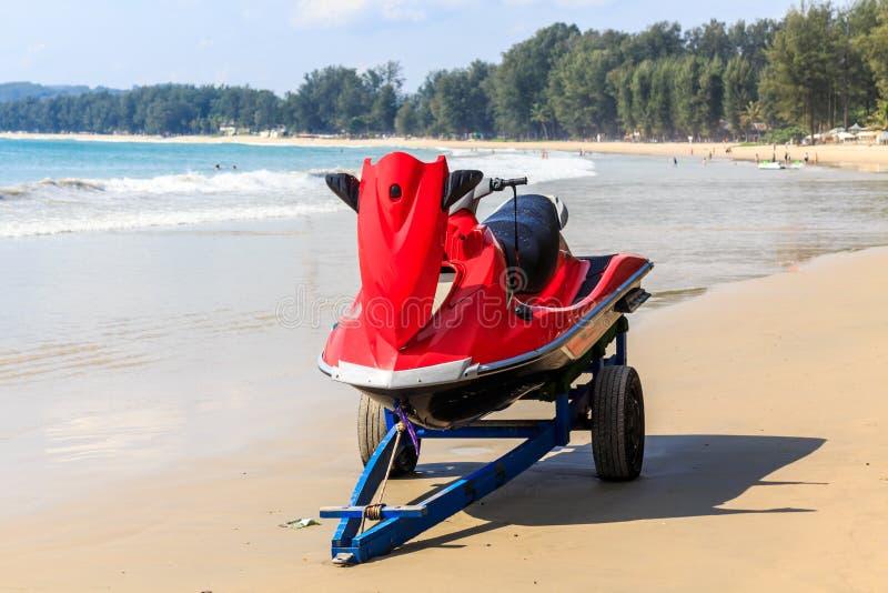 Jetski on trailer on Bang Tao beach. Phuket, Thailand stock images
