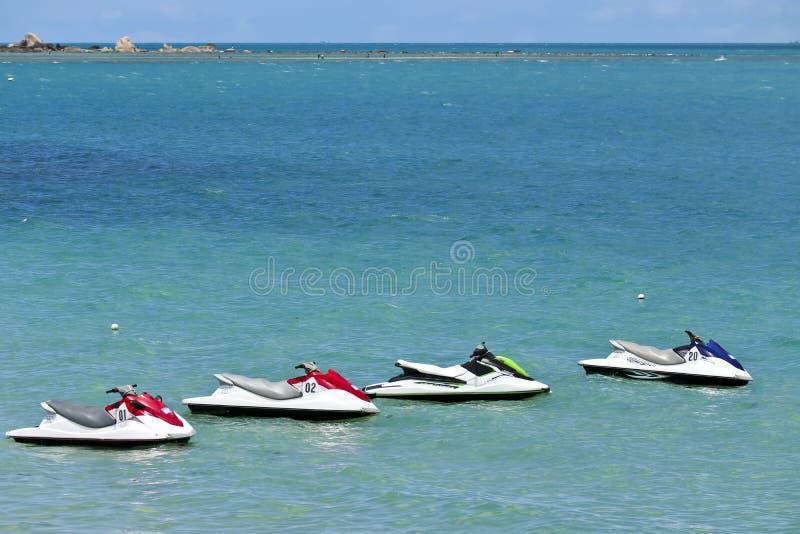 Jetskis off samui island in thailand stock images