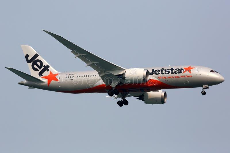 Jetstar Airways Boeing 787 Dreamliner-vliegtuig royalty-vrije stock afbeeldingen