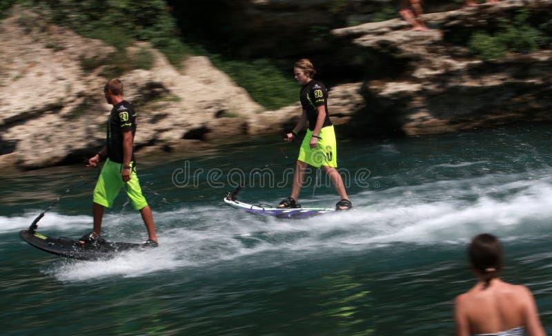 Jetsurf on the Neretva River. Man in action with Jetsurf on the Neretva River in Mostar, Bosnia and Herzegovina royalty free stock image