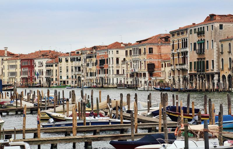 Jetties for boats in Venice, Italy royalty free stock image