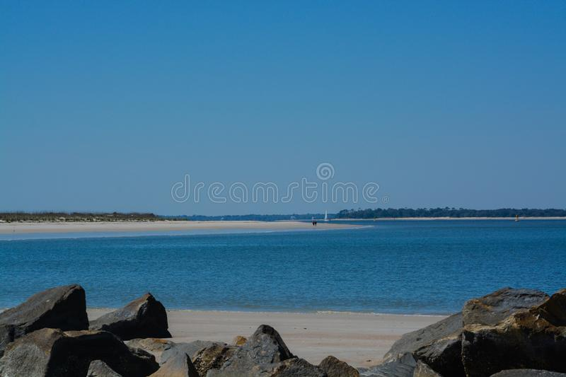 The Jetty Breakwater on Fernandina Beach, Fort Clinch State Park, Nassau County, Florida USA.  stock images