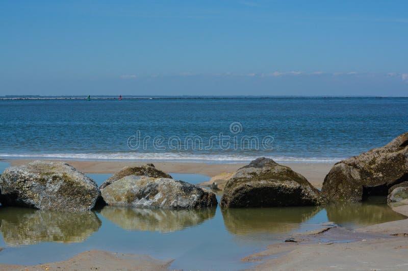 The Jetty Breakwater on Fernandina Beach, Fort Clinch State Park, Nassau County, Florida USA.  royalty free stock photography