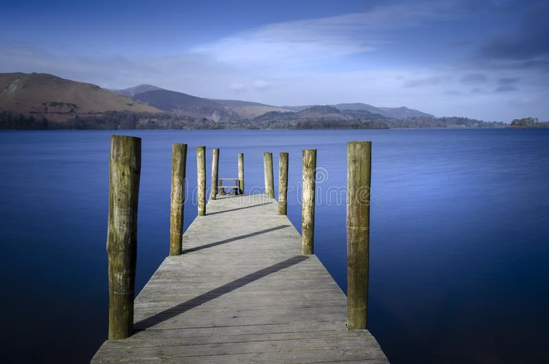 A Jetty on Derwentwater in the Lake district National park England. stock photography