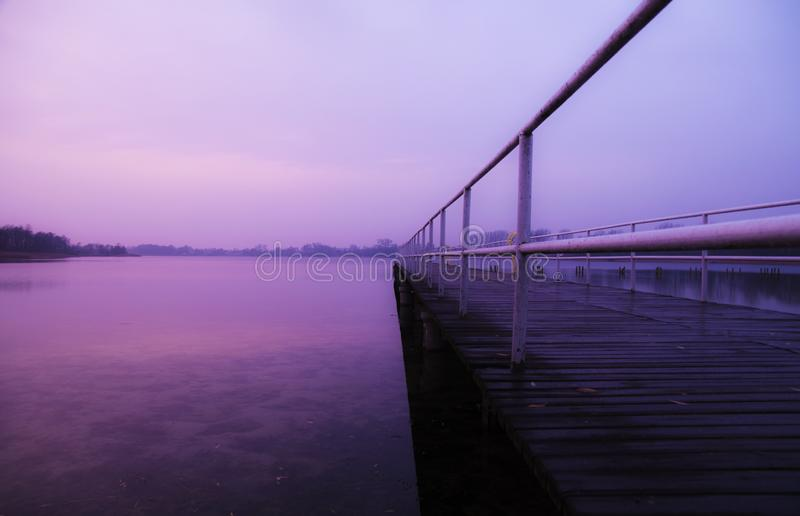 Jetty at dusk royalty free stock images