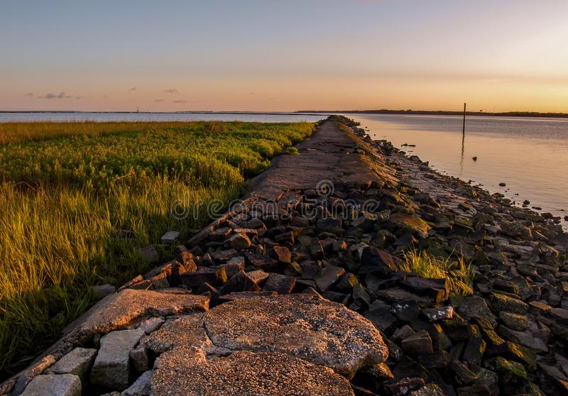 Jetty at Fort Fisher State Recreation Area royalty free stock photos