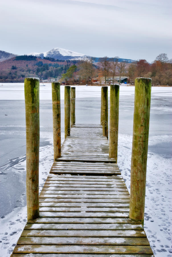 Jetty on frozen lake royalty free stock image