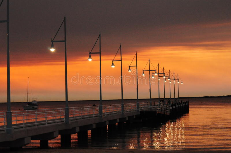 Download Pier With Lights At Sunset Perth Rockingham Western Australia Stock Image - Image of calming, jetty: 54100089