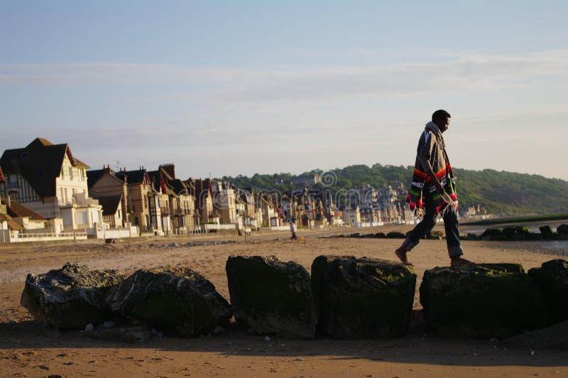 jetty Normandy kamieni spacer zdjęcie royalty free