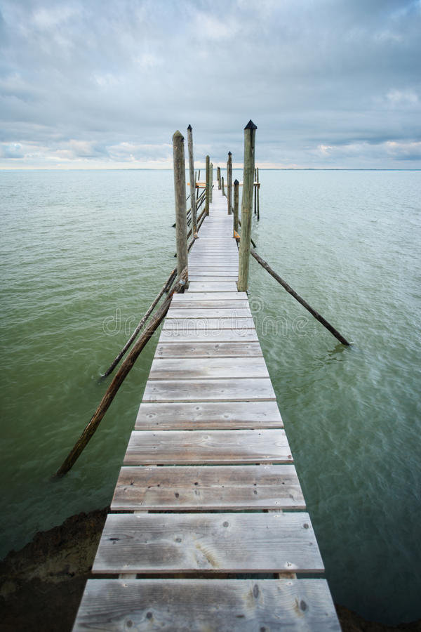 Jetty over water stock image