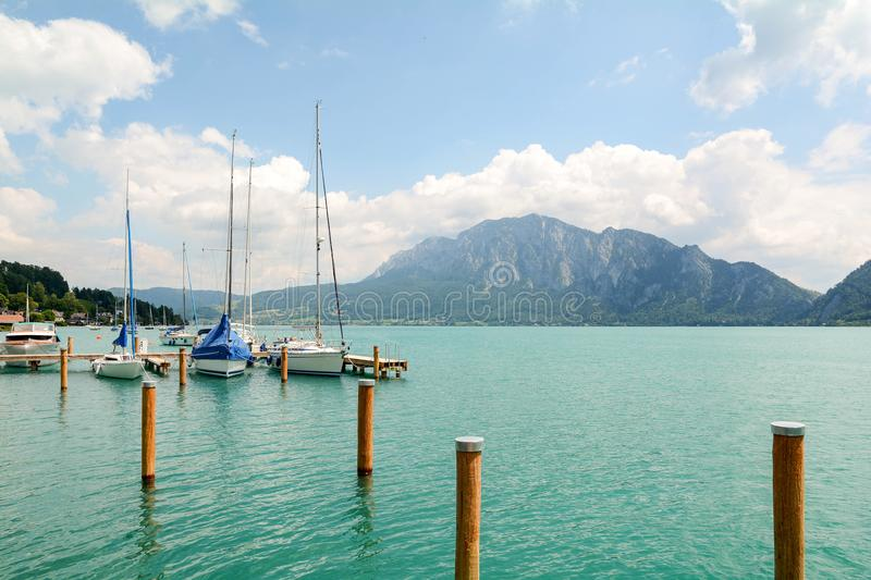 Jetty in Unterach at lake Attersee in austrian alps near Salzburg, Austria. Europe stock photo