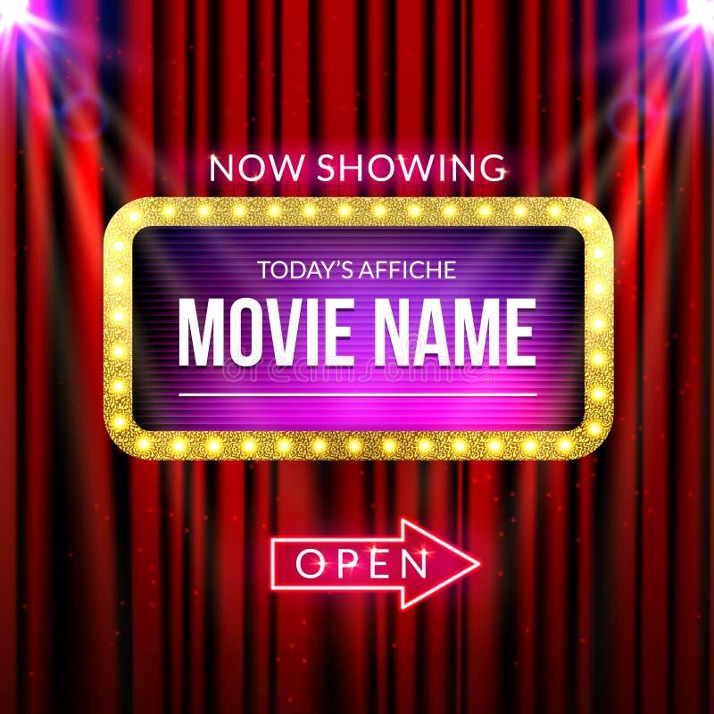 Jetzt darstellende Kinoanschlagtafel Vektorzeichen für Theater mit Lichtern Glänzende Fahnendekorationsvorhänge lizenzfreie abbildung