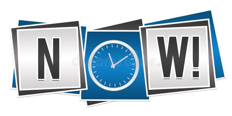 Jetzt mit Uhr in blauem Grey Blocks stock abbildung