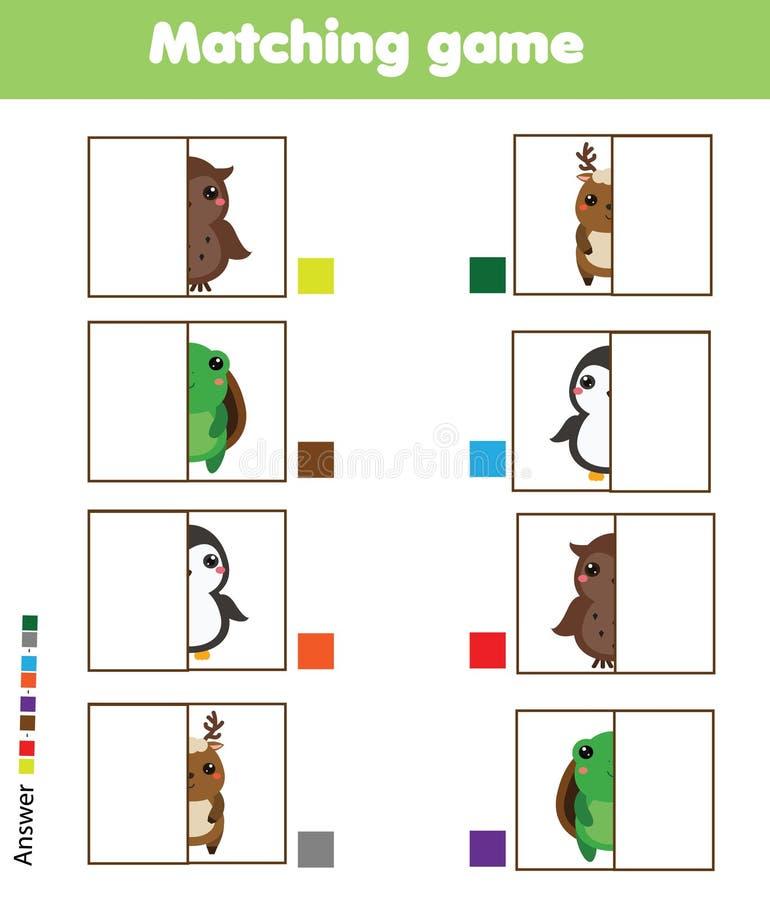 Jeu éducatif assorti d'enfants Badine l'activité Pièces d'animaux de match illustration stock