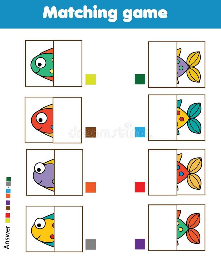 Jeu éducatif assorti d'enfants Badine l'activité Pièces de poissons de match illustration stock