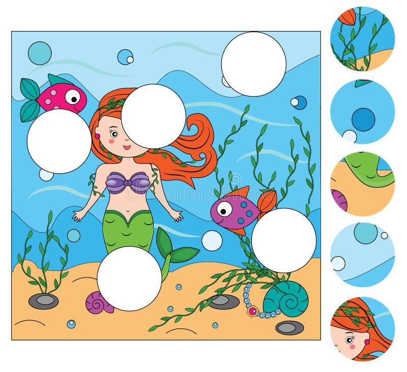 Jeu éducatif assorti d'enfants Les morceaux de match et complètent le tableau de la situation Le puzzle badine l'activité illustration libre de droits