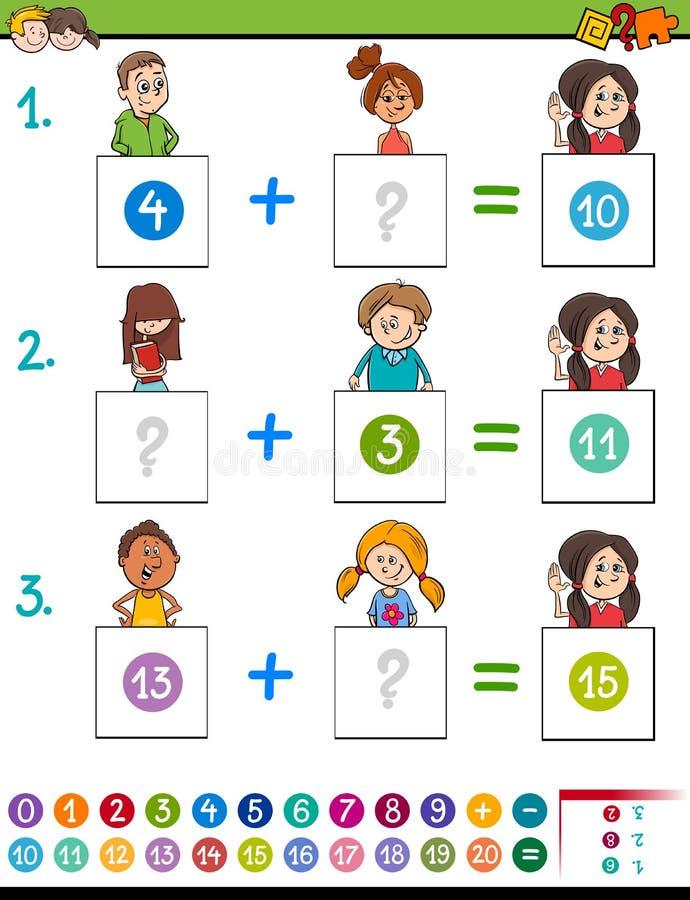 Jeu éducatif d'addition de maths avec des animaux illustration libre de droits
