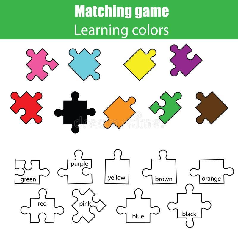 Jeu éducatif d'enfants, activité d'enfants Étude du jeu d'assortiment de couleurs illustration libre de droits