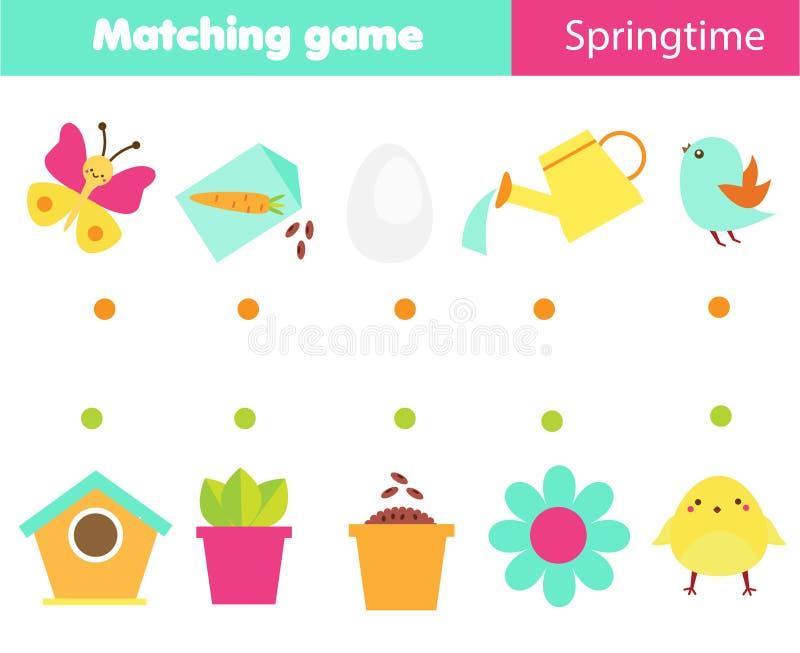 Jeu éducatif d'enfants Jeu d'assortiment de logique Reliez les objets Activité de thème de printemps pour des enfants et des enfa illustration libre de droits