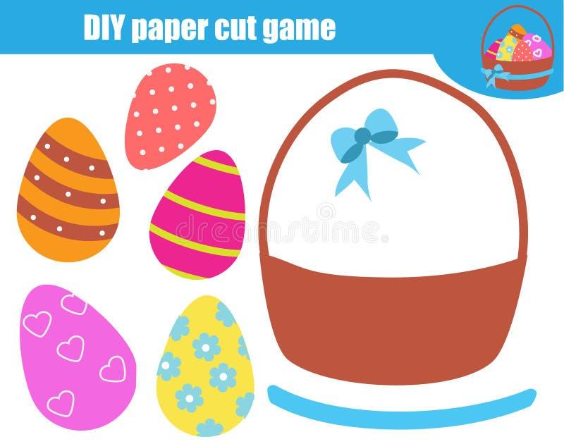 Jeu éducatif d'enfants créatifs Activité de coupe de papier Faites les oeufs de panier de Pâques avec la colle et les ciseaux illustration libre de droits