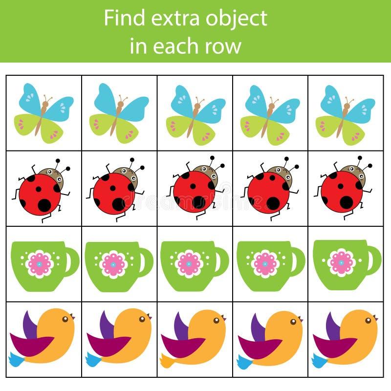 Jeu éducatif d'enfants Jeu de logique Trouvez l'objet supplémentaire dans la rangée Ce qui n'adapte pas le type illustration de vecteur