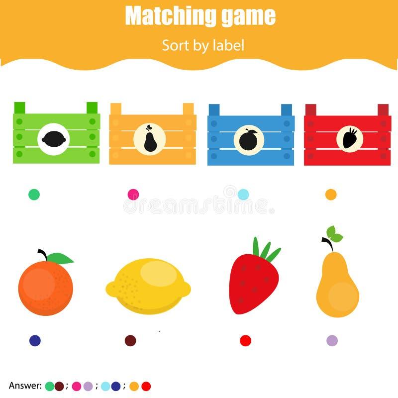 Jeu éducatif d'enfants Fiche de travail de jeu d'assortiment pour des enfants Match par forme Tri des objets pour des enfants en  illustration libre de droits